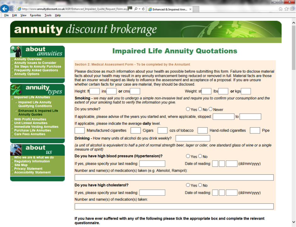 Impaired Life Annuity Quote request form