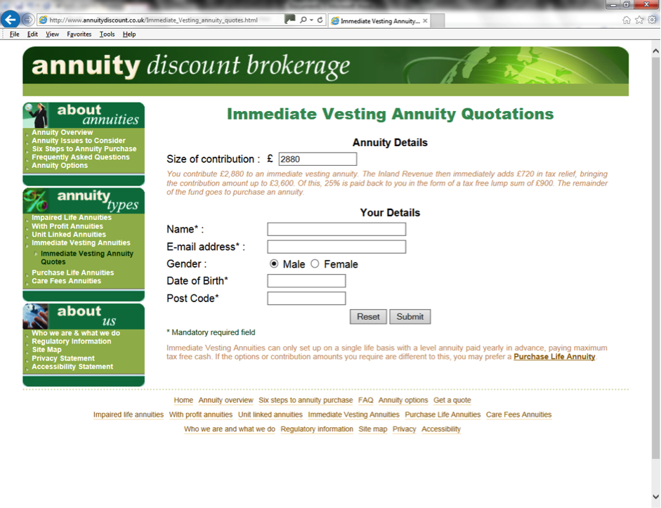 Immediate Vesting Annuity