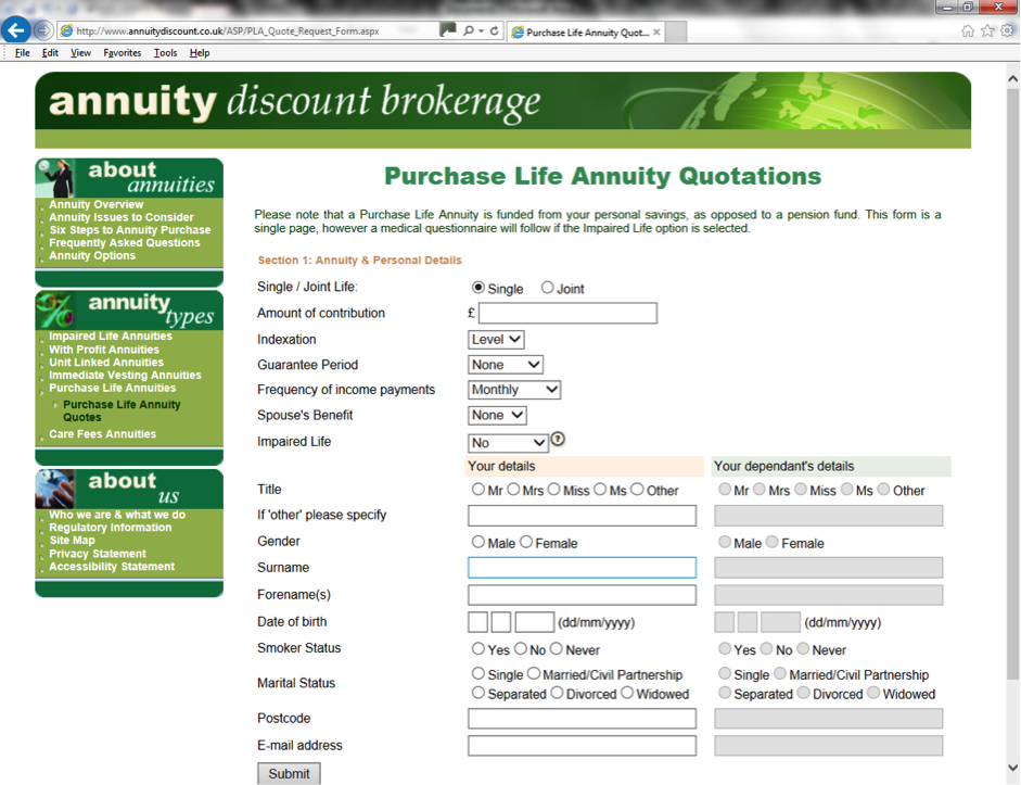 Purchase Life Annuity Quote request form