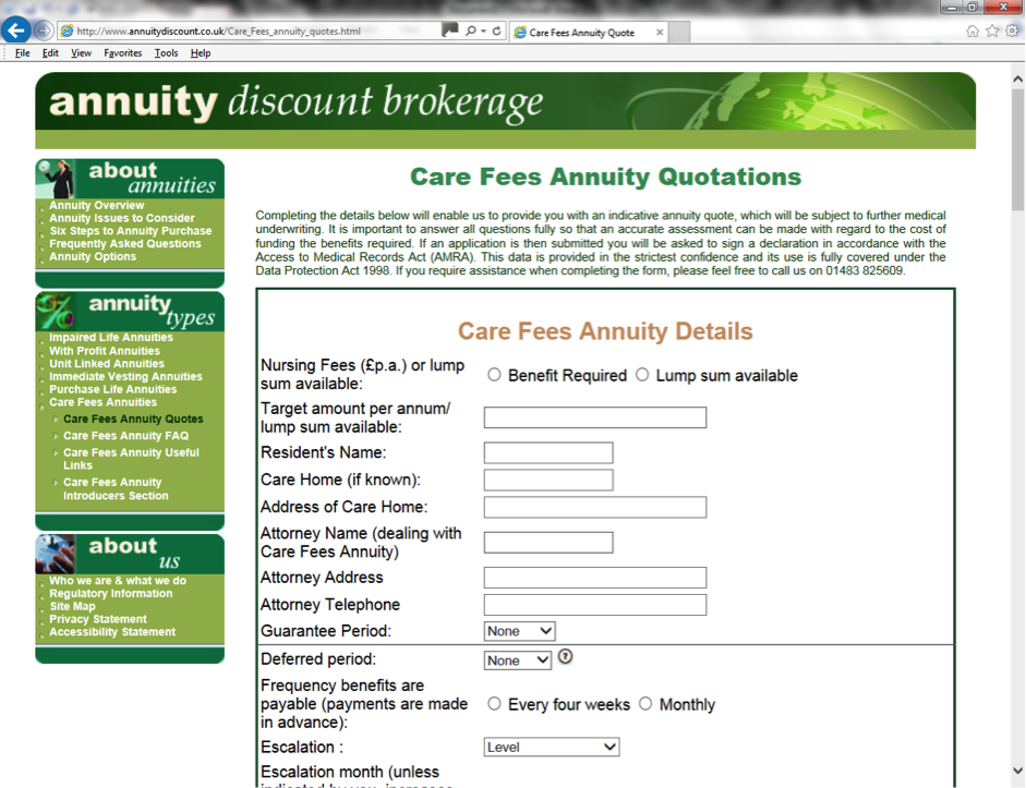 Care Fees Annuity Quote request form